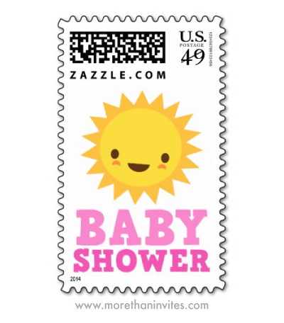 Cute kawaii cartoon sun baby shower postage stamp for girl showers