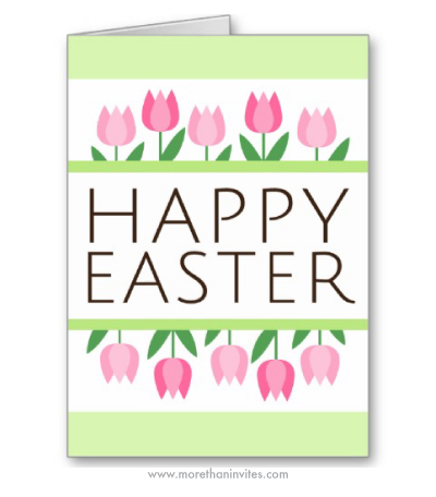 Cute modern happy easter folded greeting card with pink tulip flowers and green borders