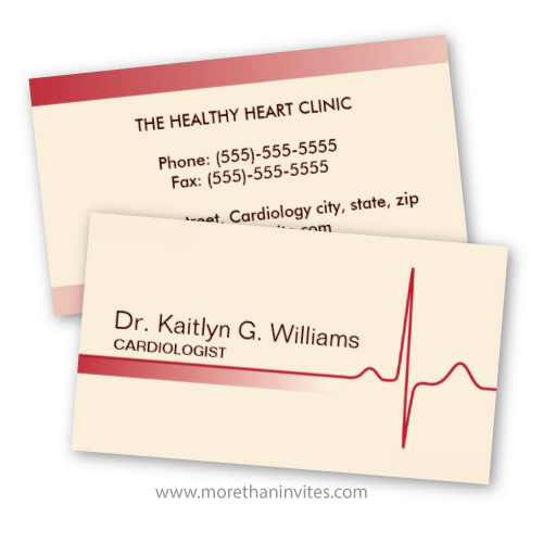 Elegant ECG wave cardiologist or heart specialist business card
