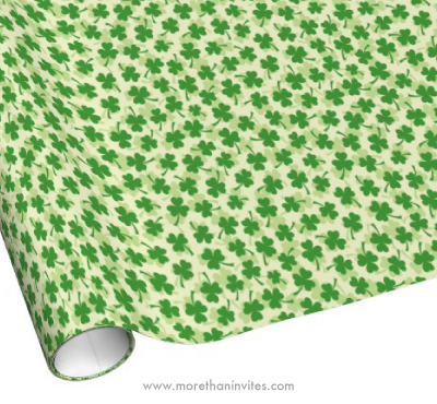 Green irish shamrock 3 leaf clover pattern wrapping paper for st patricks day
