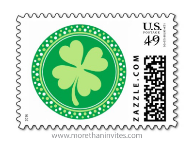 Lucky green 4-leaf clover St Patrick's day or Irish wedding postage stamp