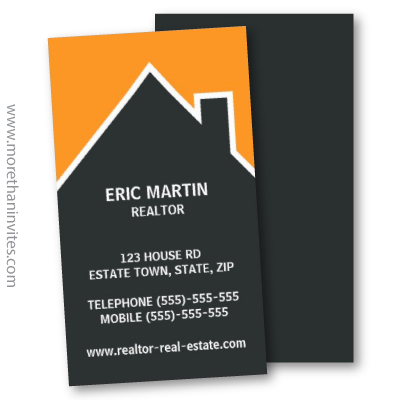 Modern orange and dark gray realtor real estate agent business card