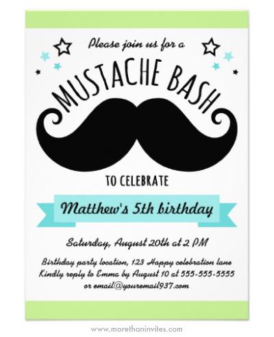 Mustache bash birthday party invitation in lime green and turquoise aqua blue