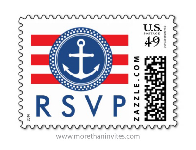 Blue nautical anchor emblem with red stripes wedding RSVP postage stamp