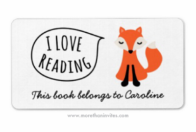 Cute bookplate book label for children featuring a sweet woodland fox saying I love reading
