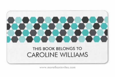 Gray and teal aqua blue geometrical hexagon pattern border personalized bookplate stickers book labels