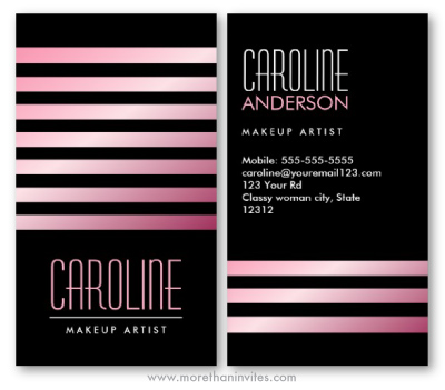 Pink stripes classy black fashion stylist cosmetologist business card for women