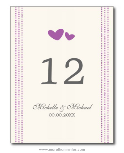 Plum purple hearts cute wedding table number cards