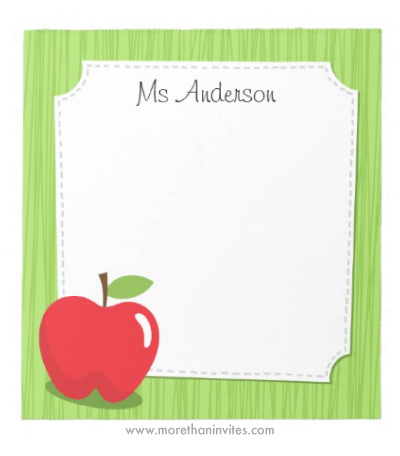 Teacher Appreciation Gift Notepad With Red Apple And