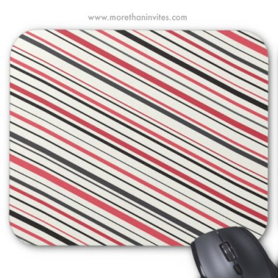 Retro red gray and black stripes mousepad