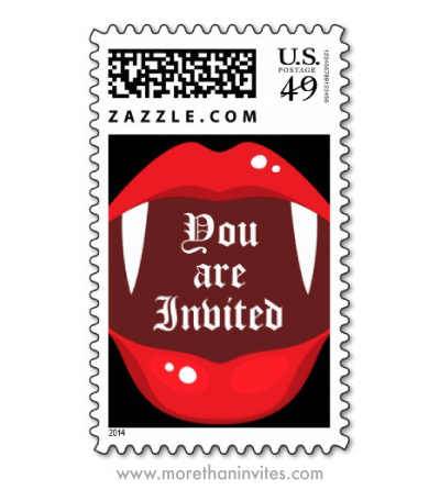 You are invited Halloween vampire party postage stamps