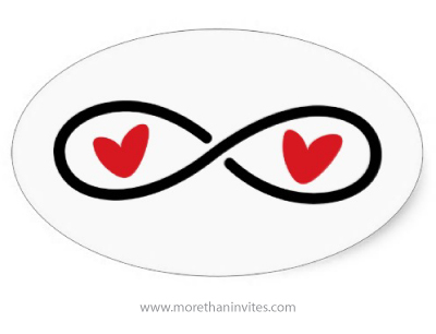 Forever eternity infinity symbol with two love hearts sticker