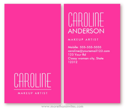 Girly hot pink fashion make up artist business card