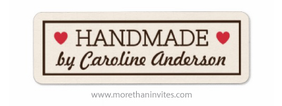 """Handmade"" labels with red hearts and personalized name - More than invites"