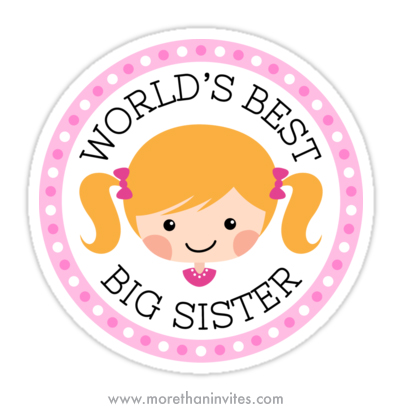 Worlds best big sister sticker with cute blond cartoon girl