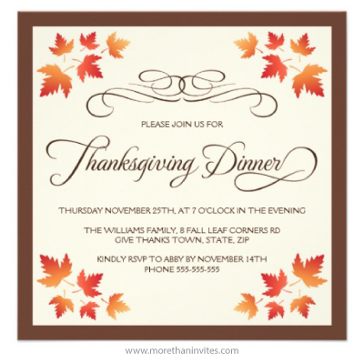Brown and cream colored Thanksgiving dinner invitation with autumn leaf corners and flourish