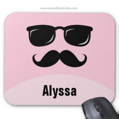 Funny pink mousepad with black mustache glasses and personalized name