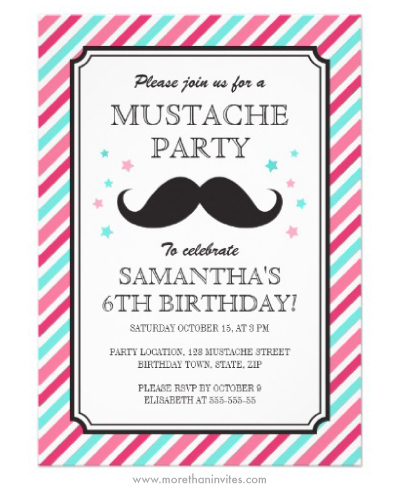 Pink and aqua stripes mustache bash birthday party invitations for girls birthdays