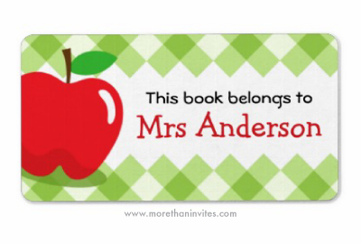Teacher book label appreciation gift with red apple and green checkers gingham pattern
