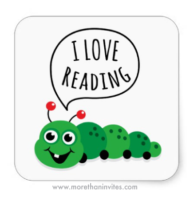 "Cute ""I love reading"" stickers with cartoon bookworm - More than invites"