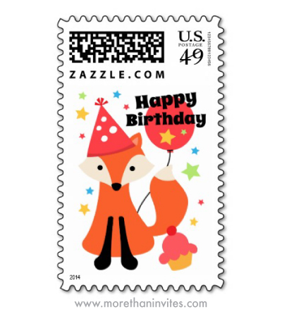 Cute happy birthday fox with balloon and cupcake postage stamp