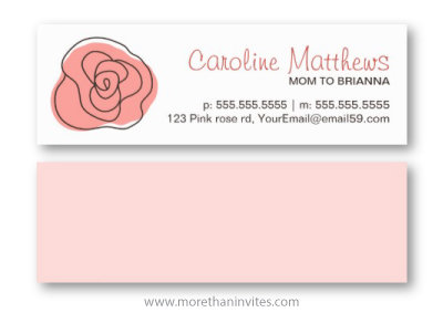 Modern abstract pink rose mom mommy play date calling card