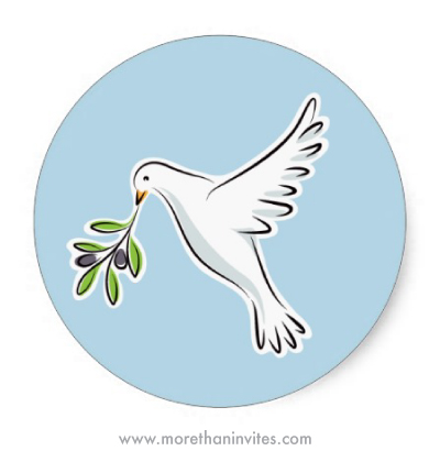 beautiful white peace dove christmas holiday envelope seal sticker