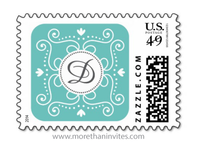 Elegant ornate damask ornament decoration teal aqua ocean blue monogram initial postage stamp