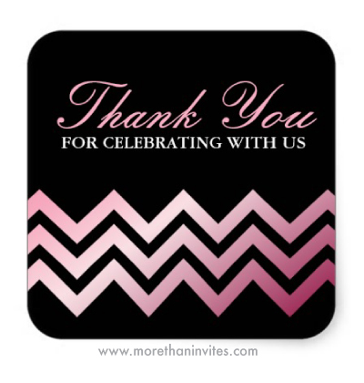 Fashionable trendy pink chevron stripes on black sweet sixteen birthday party thank you sticker