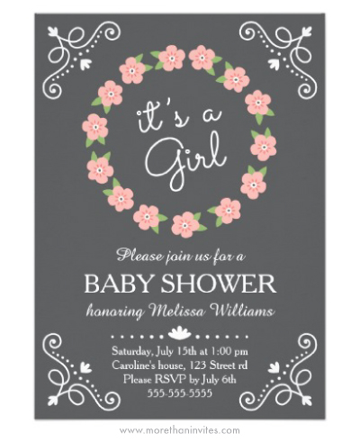 Pink floral flower wreath its a girl baby shower invitation