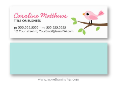 Cute pink bird standing on branch cute personal profile or business card for women