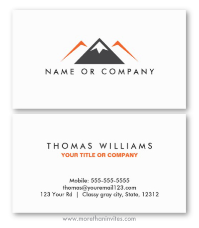 Gray orange nature hills mountain logo professional business card