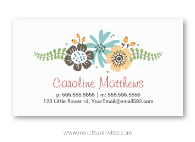 Pretty whimsical flowers personal profile business calling card for women