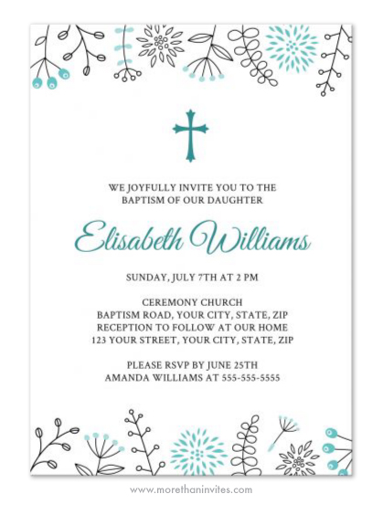 Baptism or christening invitation with aqua blue flower ...