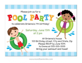 Pool party invite for children with caucasian boy and african american girl on green inflatable rings.