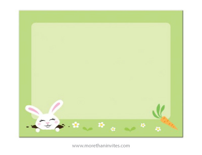 Cute, blank Easter notecard with Easter bunny rabbit, carrot and flowers.