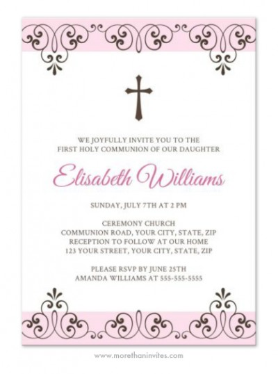 Elegant pale pink and brown First Holy Communion or Confirmation invite for girls with elegant lace damask borders.