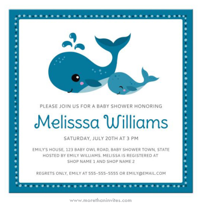 Cute whale/under the sea theme baby shower invite with mommy and baby whales