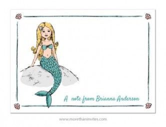 Cute notecard with custom name or other short text and a vector drawing of a little blond mermaid sitting on a rock.