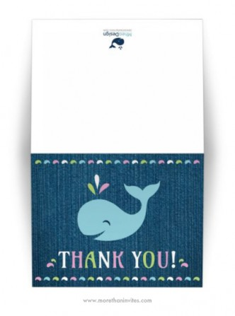 Cute little whale thank you card with denim background
