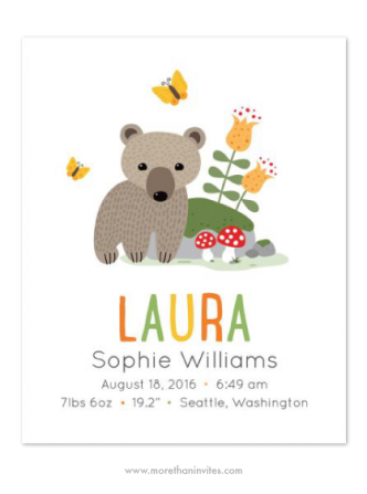 Baby birth announcement keepsake poster print with cute bear cub in a woodland scene