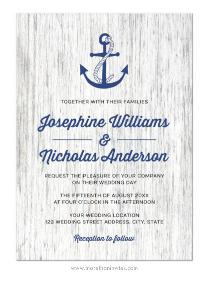 Rustic wood and anchor nautical wedding invitation More than