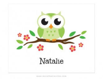 Cute print for kids with green cartoon owl sitting on a branch with red flowers.