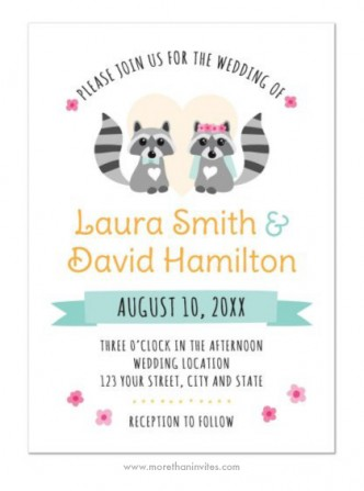Cute raccoon couple wedding invite featuring a bride and groom raccoon