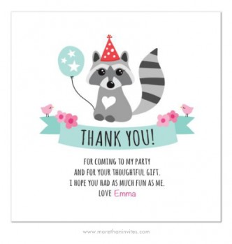 Cute, personalized thank you card for girls with a little baby raccoon wearing a party hat and holding a balloon.