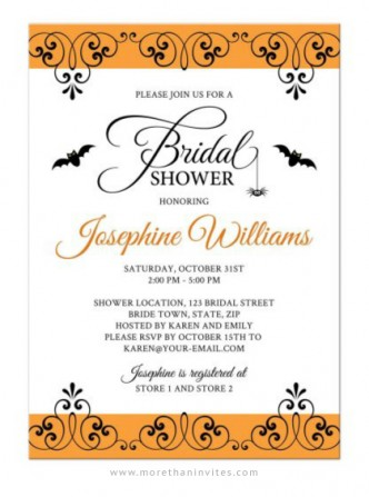 Halloween bridal shower invitation with elegant border, bats and little spider.