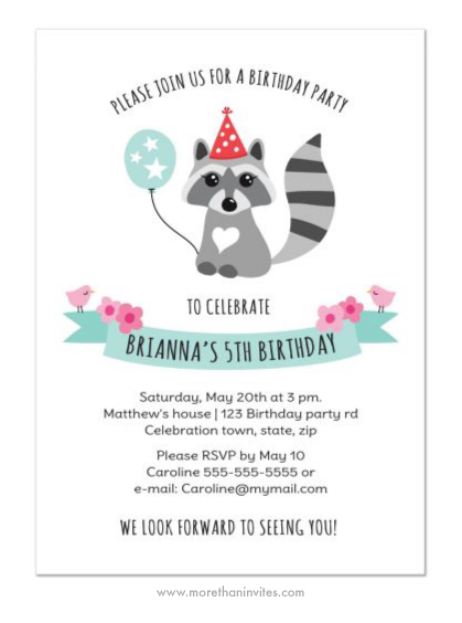 Cute birthday party invite for kids with cute raccoon girls wearing a party hat and holding a balloon.