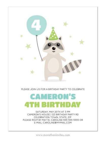 Cute birthday party invite with cute cartoon raccoon wearing party hat and holding a balloon