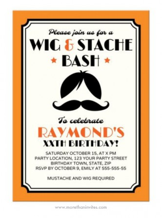 Retro wig and mustache birthday party invitation