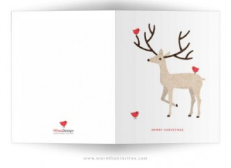 Elegant and modern holiday greeting card with stag and red birds